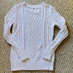 Old Navy baby pink confetti cable knit sweater M